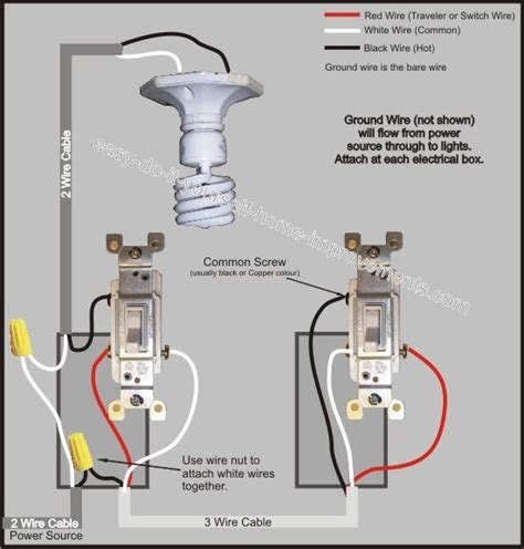 how to wire a three way light switch diagram wiring