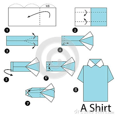 step by step how to make origami a shirt