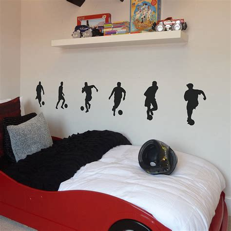 football bedroom wall stickers set of six footballer wall stickers by nutmeg