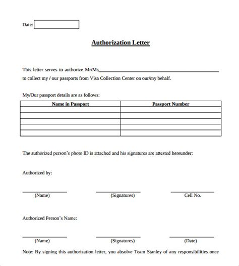 authorization letter format exles exle of authorization letter 7 in word pdf