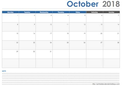 printable monthly calendar with space for notes october 2018 calendar with space note printable 2017