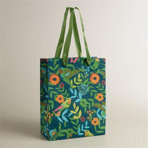 Handmade Gift Bag - large blue woodland birds handmade gift bag world market