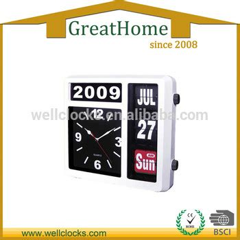 Calendar Clock Abs Plastic Auto Flip Table Clock Day Date Calendar Clock