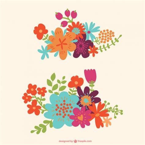 Imagenes Vectores De Flores | vector gratuito de flores de colores descargar vectores