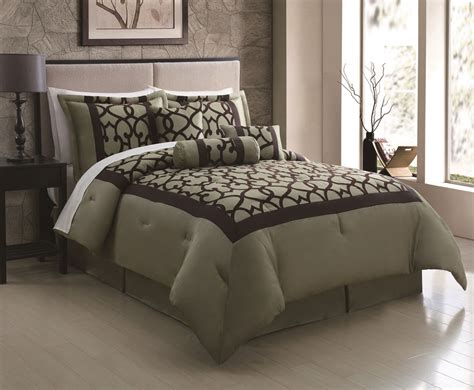 sage comforter sets 7 piece queen chapman sage chocolate flocking comforter set