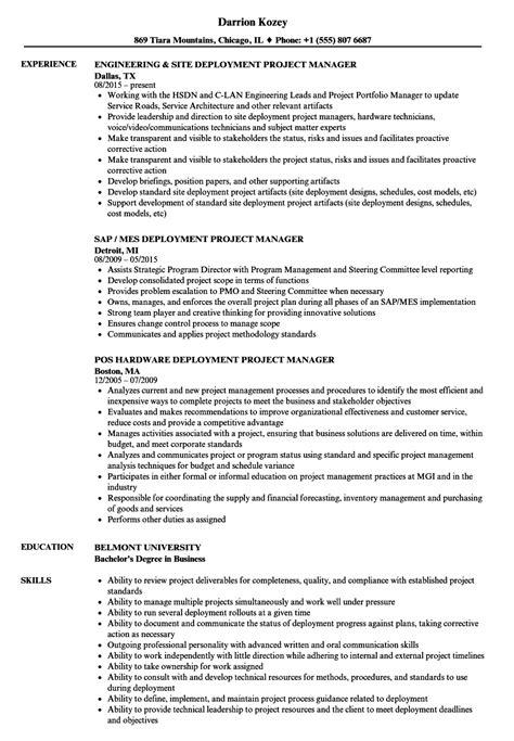 deployment project manager resume sles velvet