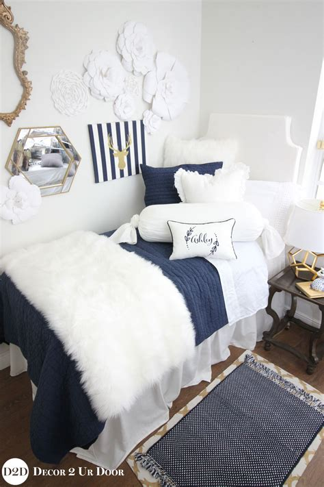 white dorm bedding navy white fur designer dorm bedding set