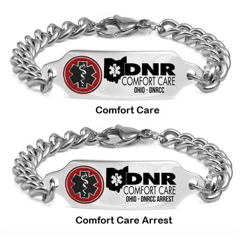dnr comfort care arrest ohio dnr medical id stainless bracelet 7 5 inch