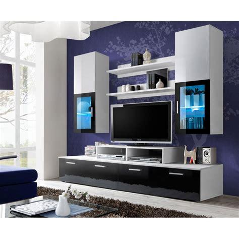 Meuble Tv Mural Blanc by Meuble Tv Mural Design Quot Mini Quot 200cm Noir Blanc