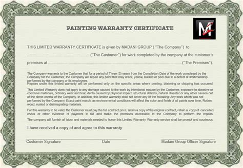 certificate of guarantee template winnipeg s 1st choice painting contractor madani