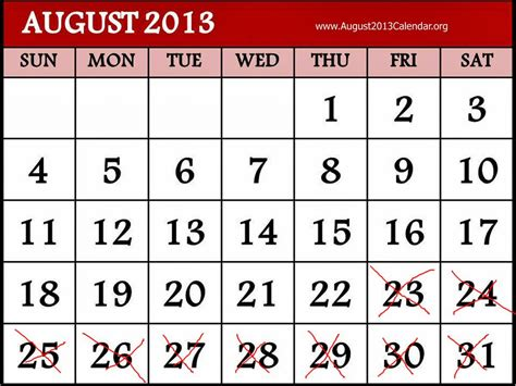 august 2013 calendar printable hkn haven update