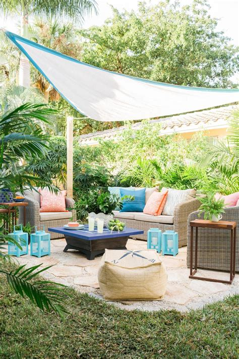 backyard sails beat the heat and add privacy with an embellished shade