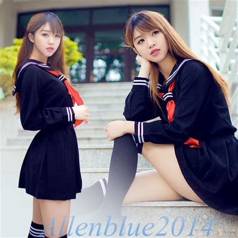 Heavenly School Japanese Dress japanese school daily uniforms sailor marine style sweet dress navy blue ebay