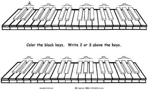 coloring page piano keys free piano worksheets free sheet music for kids pianimals