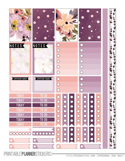 printable planner set perfectly purple free happy planner printable sticker set
