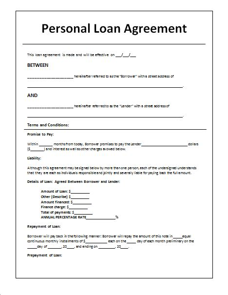 loan agreement templates samples write  perfect