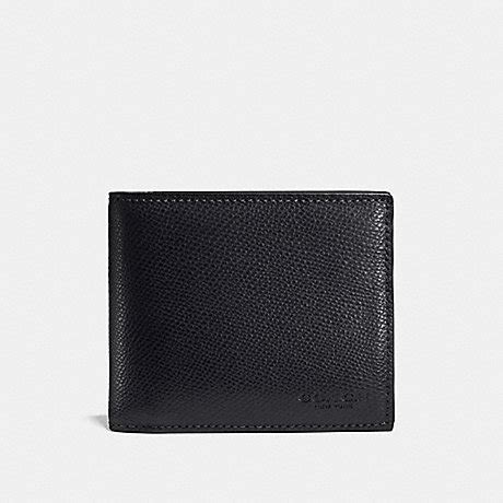 Coach Wallet F59112 Compact Id Lether Black Navy compact id in crossgrain leather f59112 midnight navy