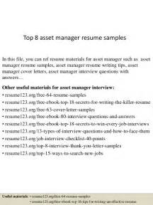 Asset Management Resume Sample Top 8 Asset Manager Resume Samples