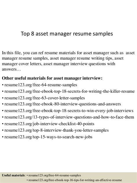 top 8 asset manager resume sles