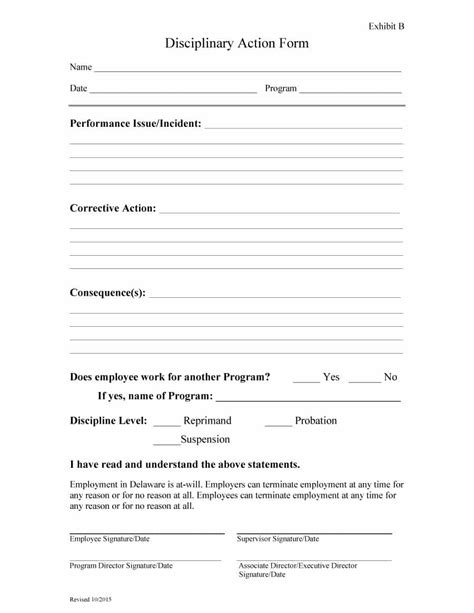 disciplinary write up form template 50 employee write up form excel word pdf