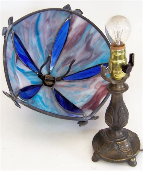 Slag Glass L Shade by Vintage Sm L L Wmc Light Blue Maroon Slag Stained Glass Bow Shade Light L Ebay