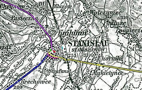 Ivnuo Lightblue 1905 map showing ivano frankivsk stanislawow