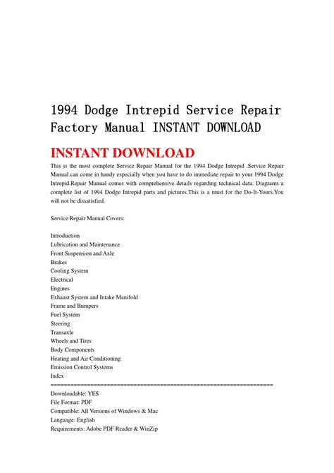 service manual free car repair manuals 1994 dodge stealth interior lighting 1994 dodge 1994 dodge intrepid service repair factory manual instant download by jhfgbsehn issuu