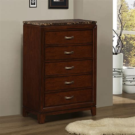 dresser 6 drawer chest antiqued finish faux marble top bedroom tribecca home amble warm cherry finish faux marble 5