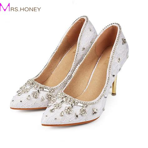 White Wedding Dress Shoes by Pointed Toe S Wedding Dress Shoes White Lace
