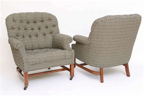 Houndstooth Chair by Beefy Edwardian Style Button Tufted Club Chairs In