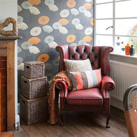 living room with leather armchair housetohome co uk