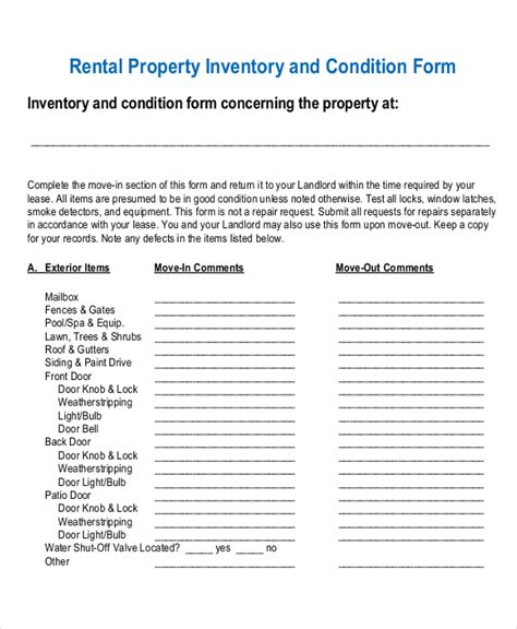 inventory for rental property template 17 inventory templates free sle exle format