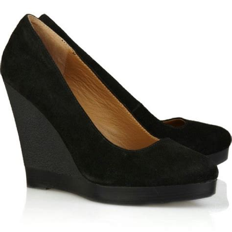 michael kors womens shoes black suede wedges platform