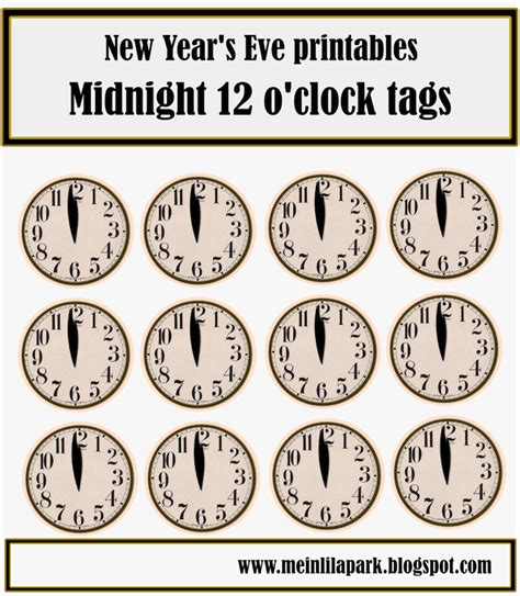 Printable New Years Eve Clock | free printable new year s eve table decoration clock and