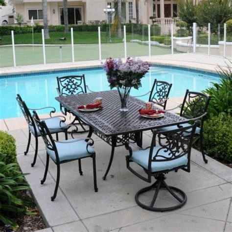 meadow decor kingston rectangle cast aluminum patio dining