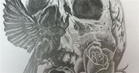 tattoo paper called tattoo design pencil on paper a4 skull bird roses