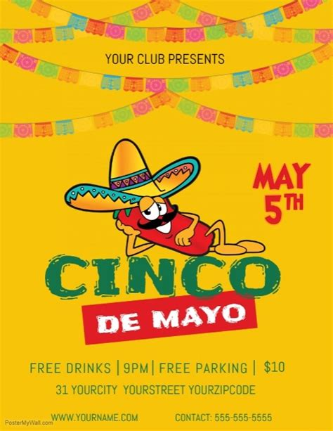 May 5th Flyer Template Postermywall Cinco De Mayo Template