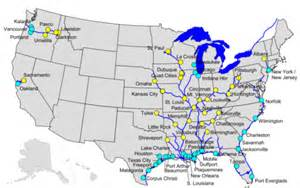 map of eastern us rivers container on barge