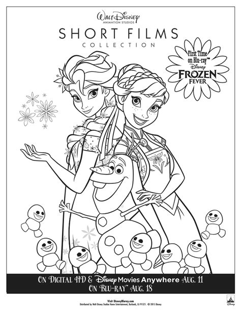 frozen fever coloring pages to print own the walt disney animation studios shorts collection