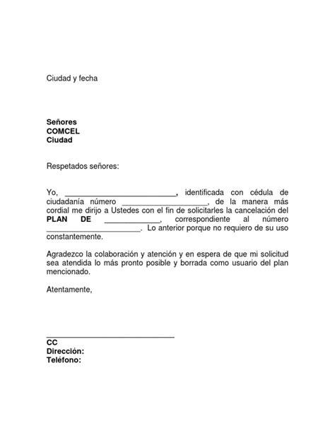 carta cancelacion banco formato carta entrega de plan comcel