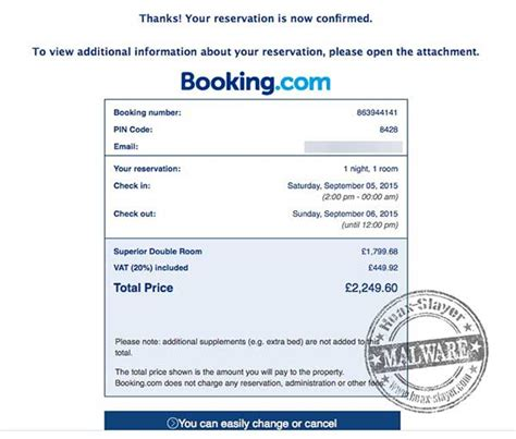 Hotel Booking Confirmation Malware Emails Booking Confirmation Email Template
