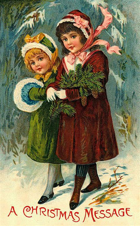 touching hearts merry christmas  happy  year vintage postcards