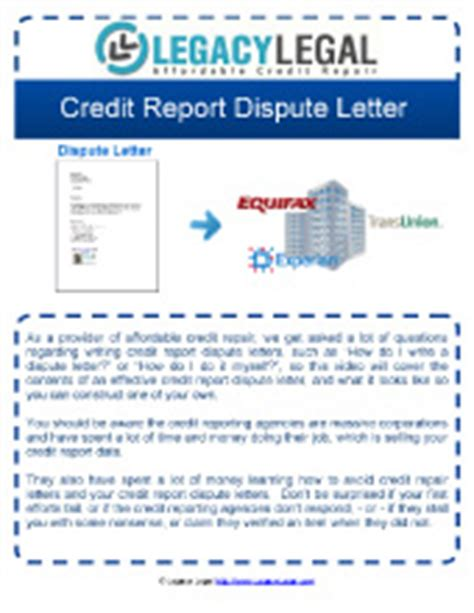 Effective Credit Dispute Letter How To Write Effective Credit Report Dispute Letter Legacy