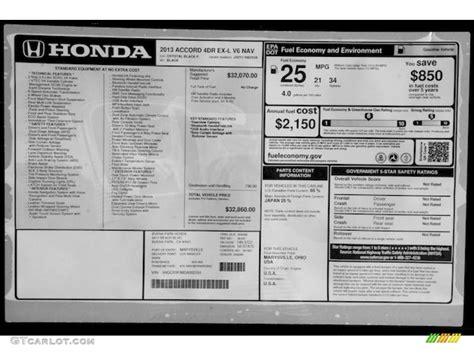 Honda Accord Sticker by 2013 Honda Accord Ex L V6 Sedan Window Sticker Photos