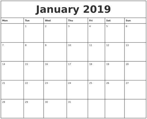 monthly calendar 2019 january 2019 printable monthly calendar