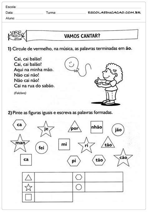 Atividades de Português 2º ano - Música - Escola Educação