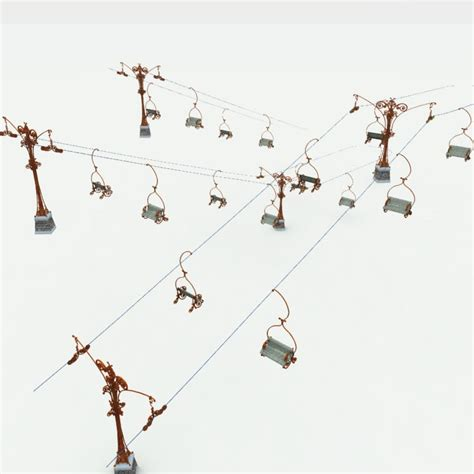 animated ski lift decoration mountain ski lift 3d model