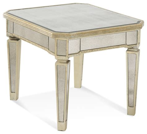 Borghese Mirrored Coffee Table Borghese Mirrored Rectangle End Table Traditional Side