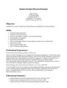 business systems analyst sle resume technical systems analyst resume