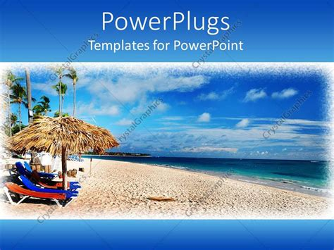 powerpoint template framed depiction of caribbean beach
